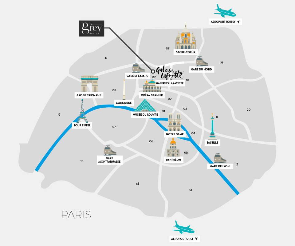 Map Paris Hotel Luxe Paris