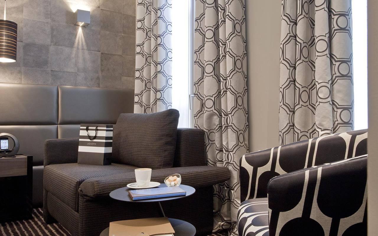 Brown armchair hotel romantique paris