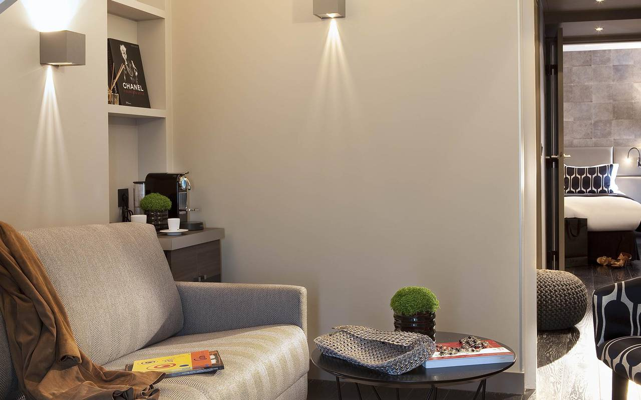 Comfortable grey sofa Hotel Paris Opera